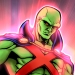 Martian Manhunter flying stoically as he's known to do.