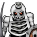 Full body shot of a Lego Skeleton Warrior with sword.