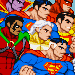 fighting game-style sprites of Superman (and some guest-stars.